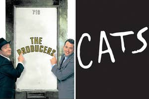 """Two men in suits point to a door with the words """"The Producers"""" written on it in stencils and the word """"Cats"""" is written in white against a black background."""