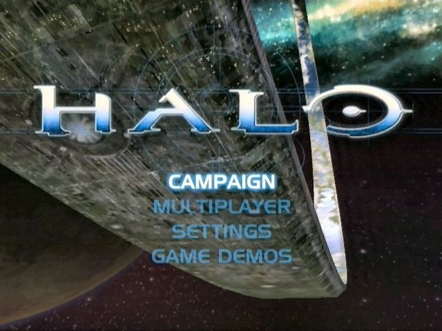 The title screen for the first Halo game