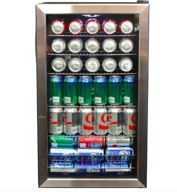 The fridge filled with cans