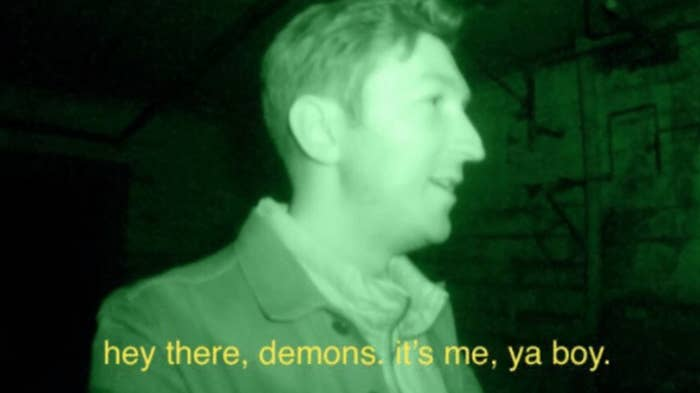 """Shane saying """"hey there demons, it's me, ya boi"""" on BuzzFeed Unsolved"""
