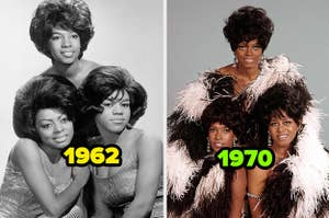 Diana Ross & the Supremes in 1962 vs. 1970