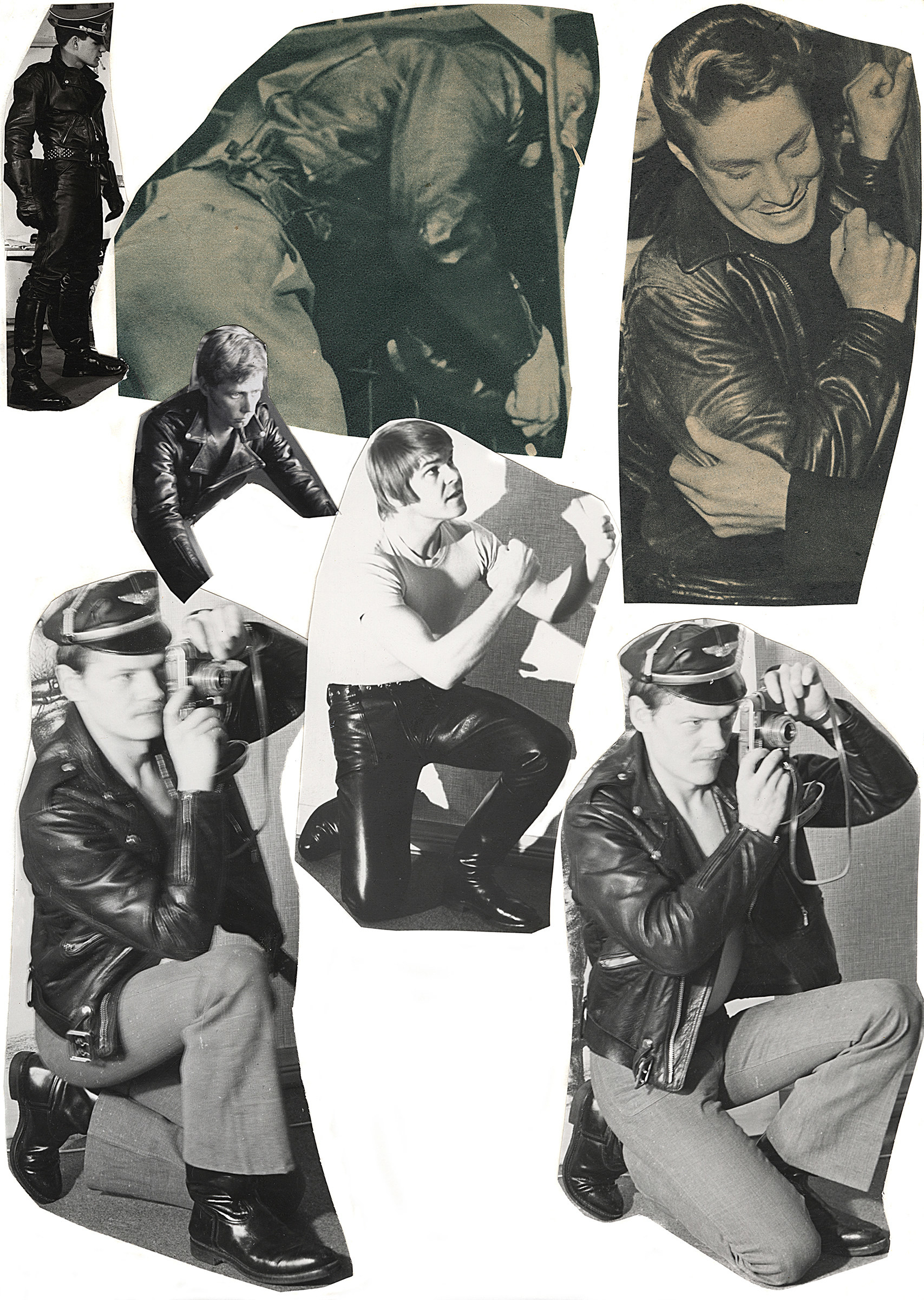 A series of cutout photos show men in leather jackets