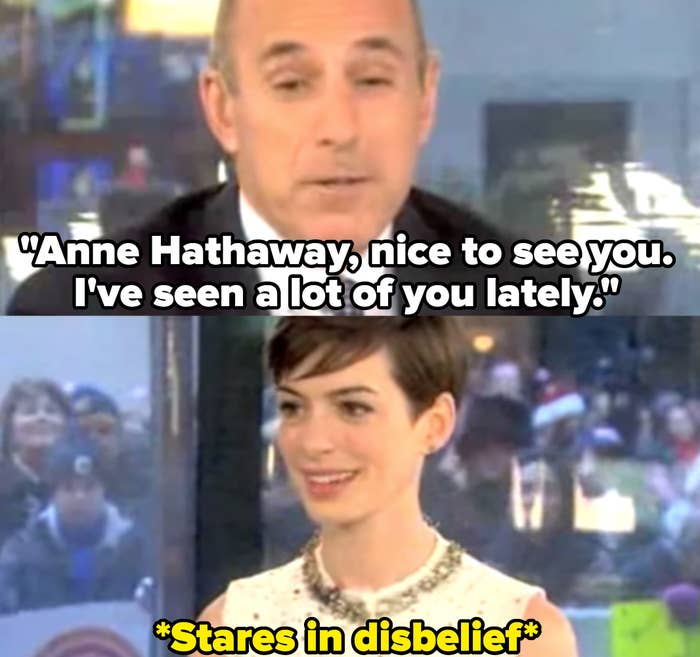 Matt Lauer repeatedly brings up Anne Hathaway's wardrobe malfunction as she looks increasingly uncomfortable.