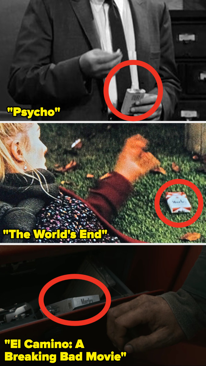 """Morley Cigarette boxes in """"Psycho,"""" """"The World's End,"""" and """"El Camino"""""""