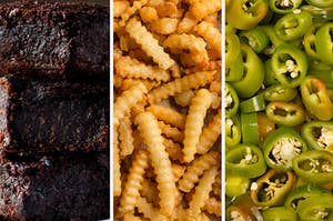 Brownies on the left, fries in the middle, and jalapenos on the right