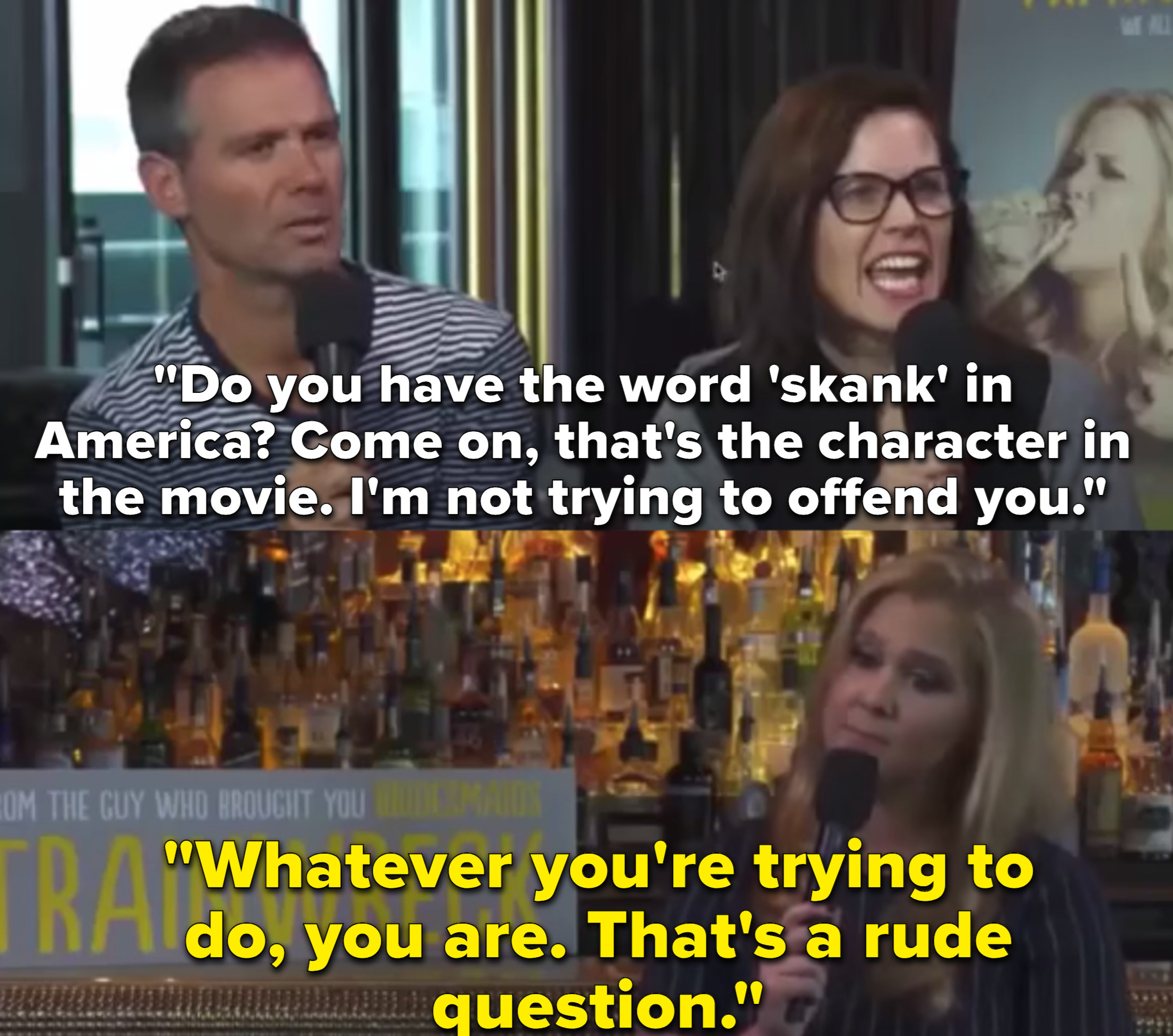 """A male reporter calls Amy Schumer's movie character a """"skank"""" and Schumer responds, """"That was a really rude question."""""""