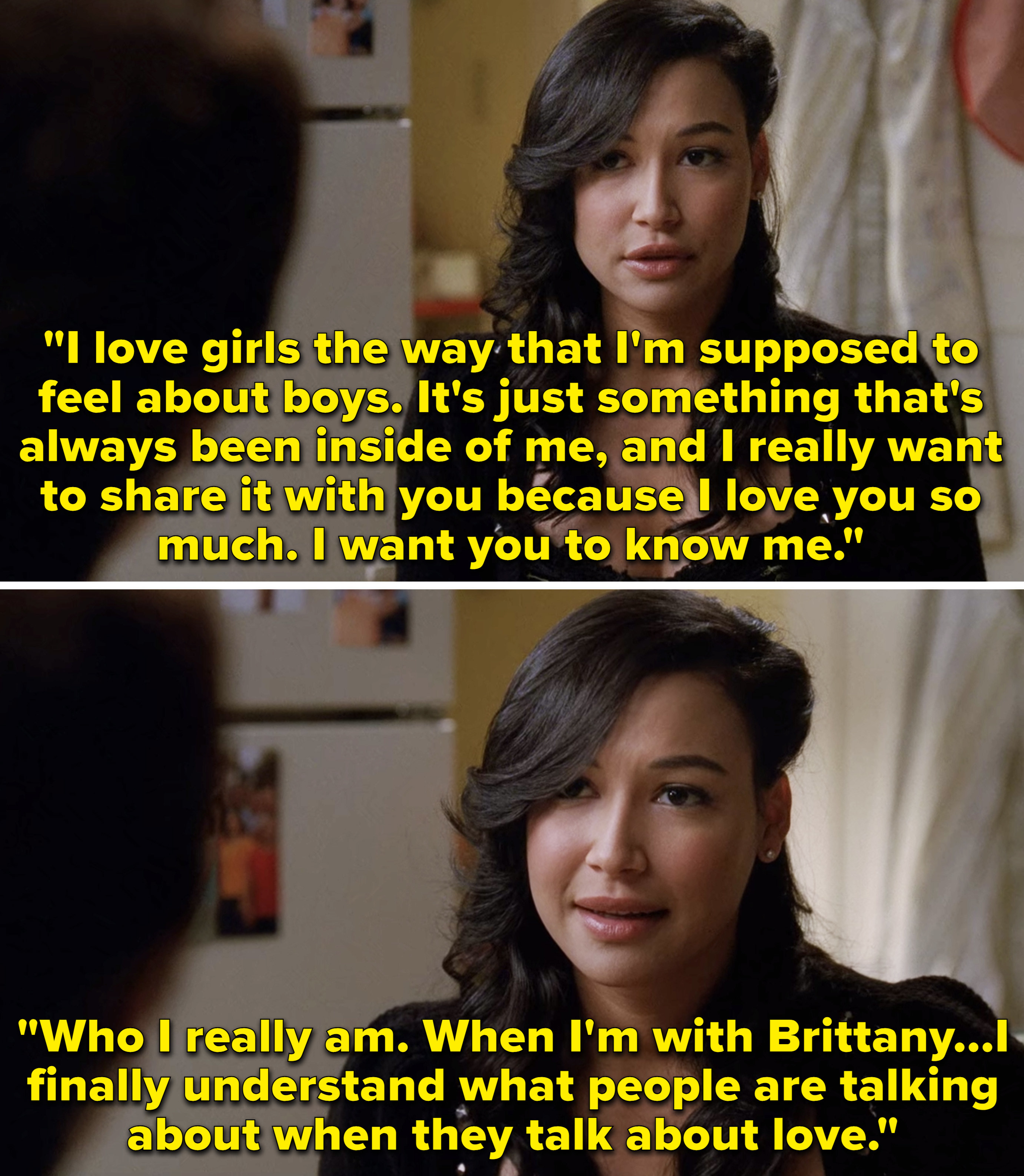 """Santana saying, """"I love girls the way that I'm supposed to feel about boys,"""" and """"When I'm with Brittany... I finally understand what people are talking about when they talk about love"""""""