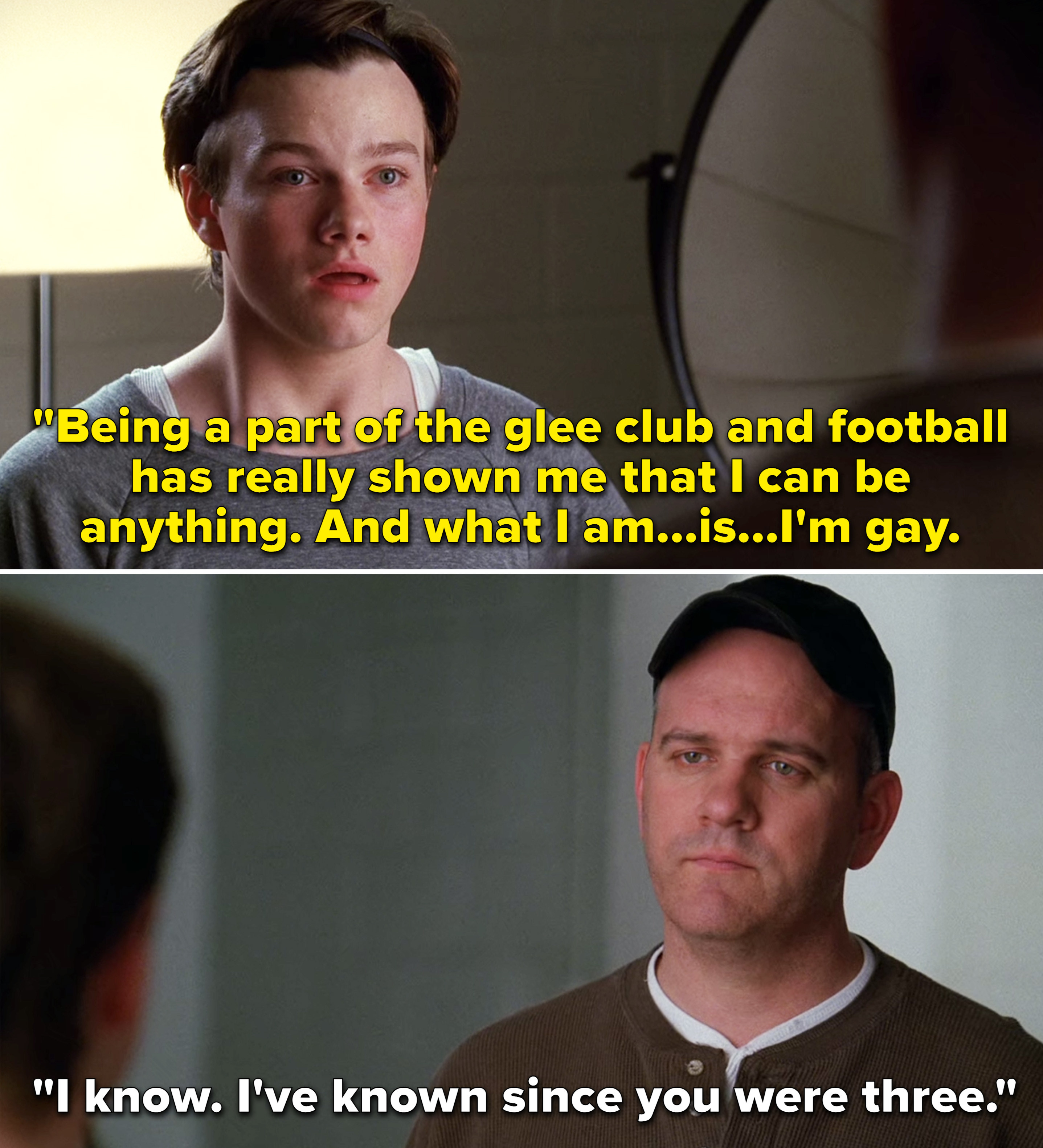 """Kurt saying, """"Being a part of the glee club and football has really shown me that I can be anything. And what I am is I'm gay"""""""
