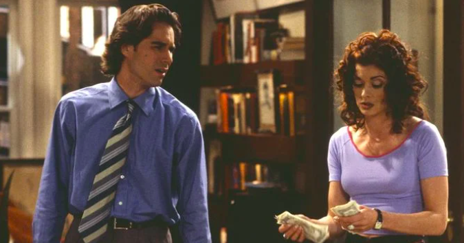 Will and Grace talking to each other