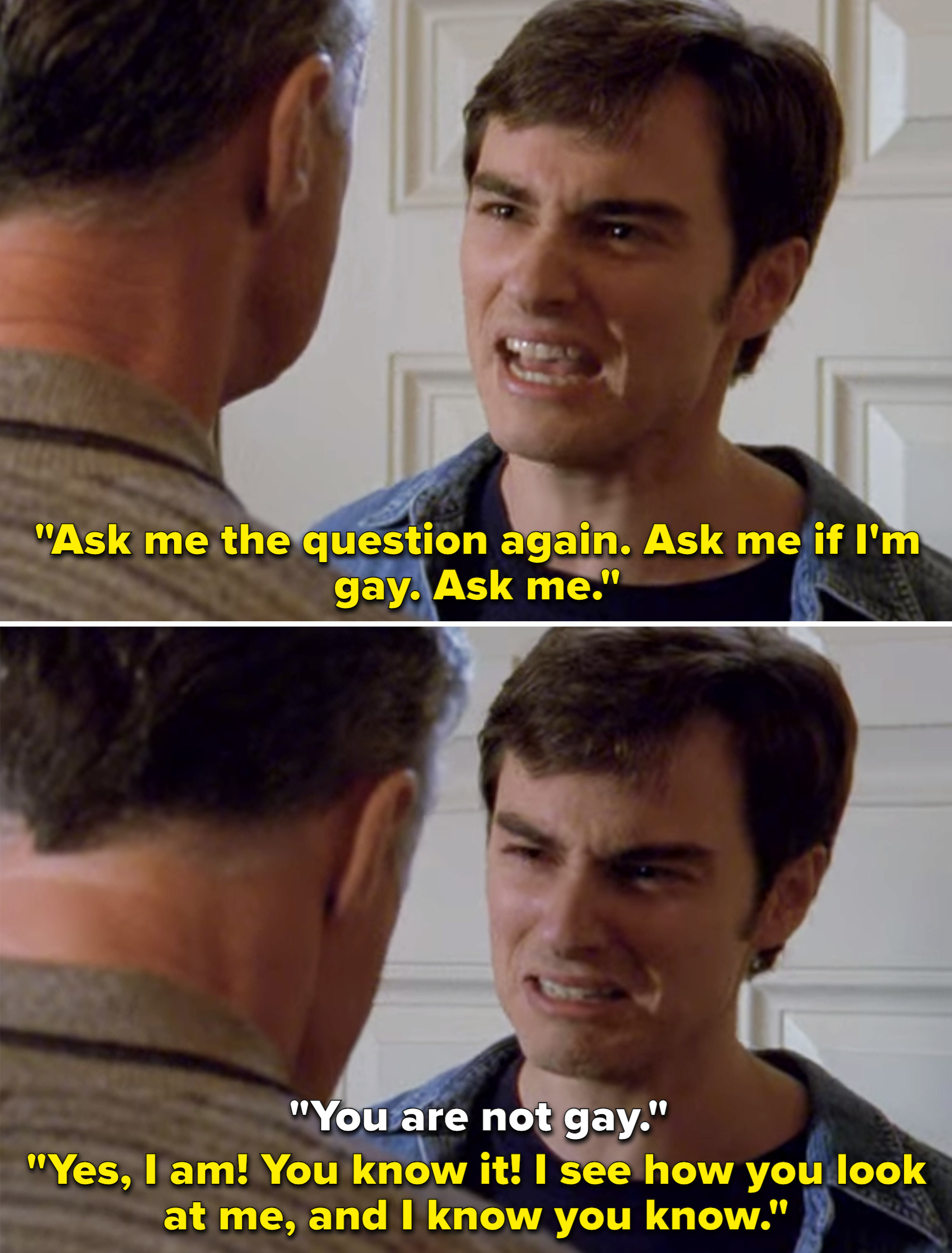 """Jack saying, """"Ask me the question again. Ask me if I'm gay. Ask me"""""""
