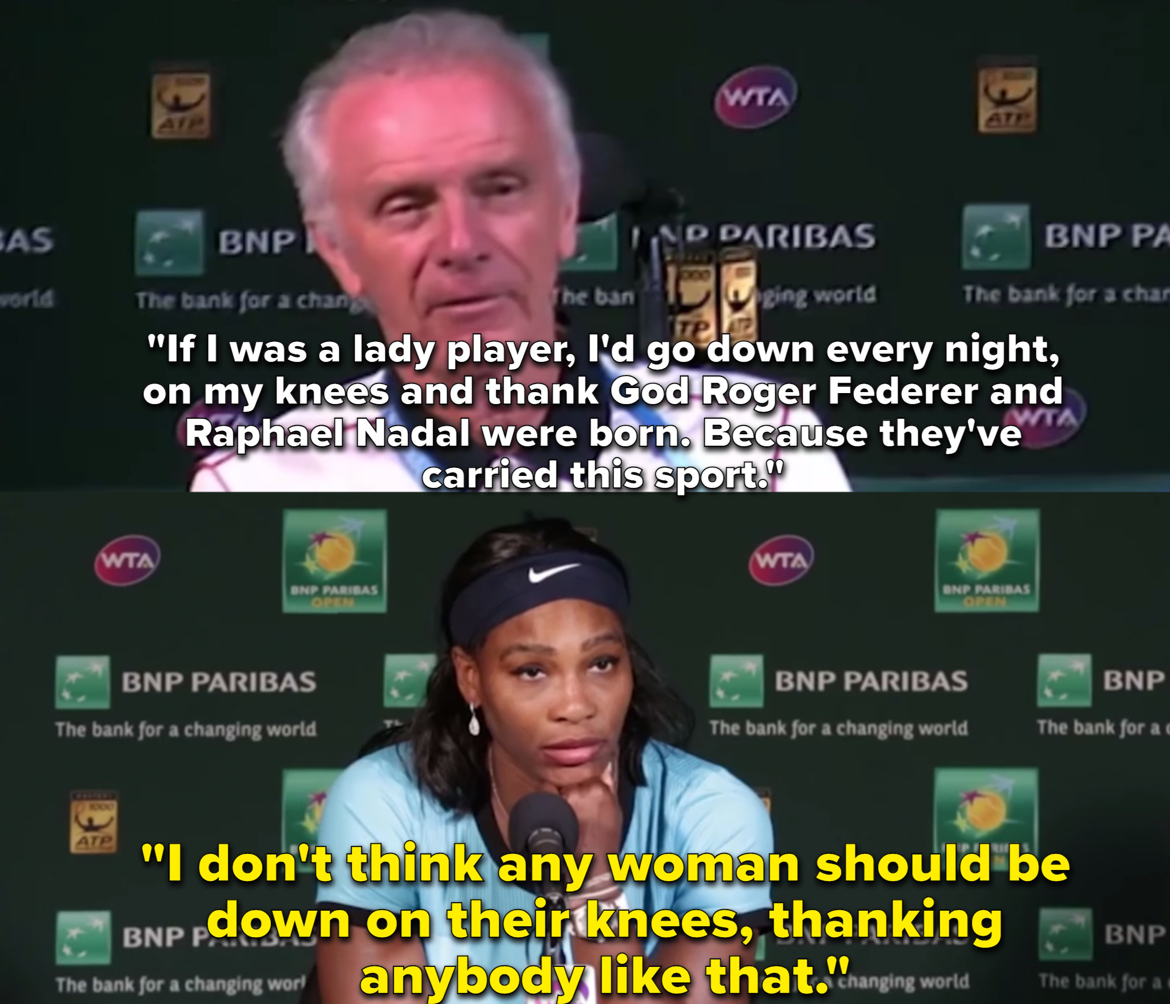 Tennis executive Raymond Moore made a comment that female tennis players should be on their knees thanking men for carrying their sport and Serena Williams looks deadpan as she says no women should ever be on her knees like that.