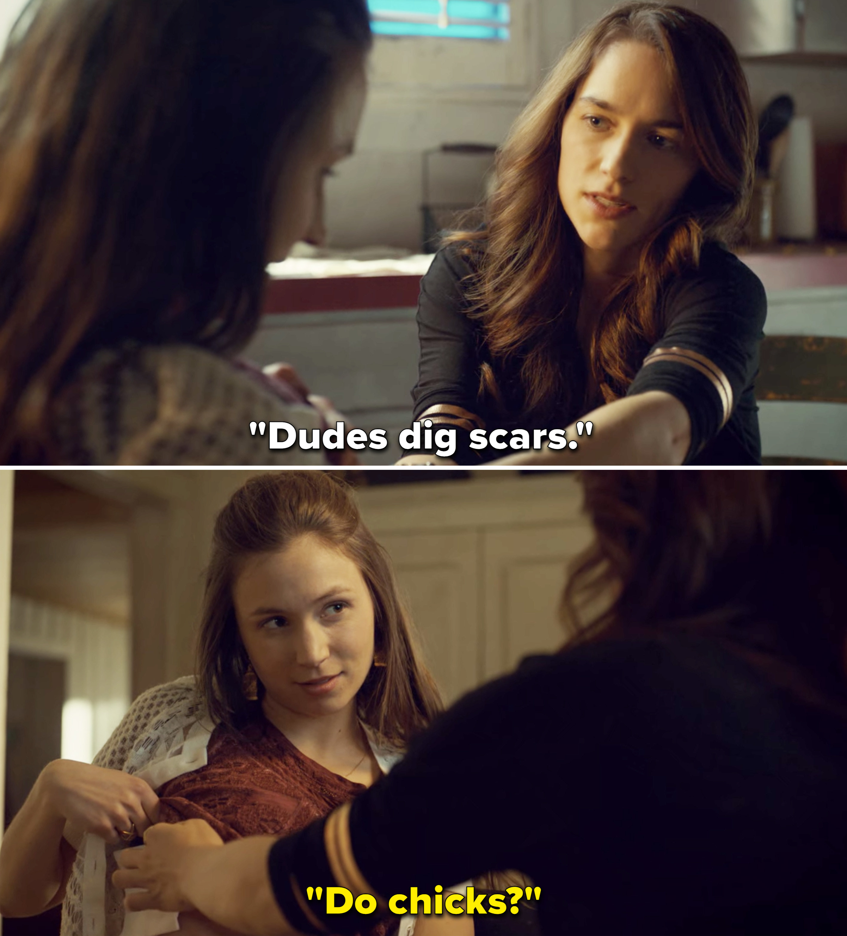 """Wynonna saying, """"Dudes dig scars,"""" and Waverly responding, """"Do chicks?"""""""