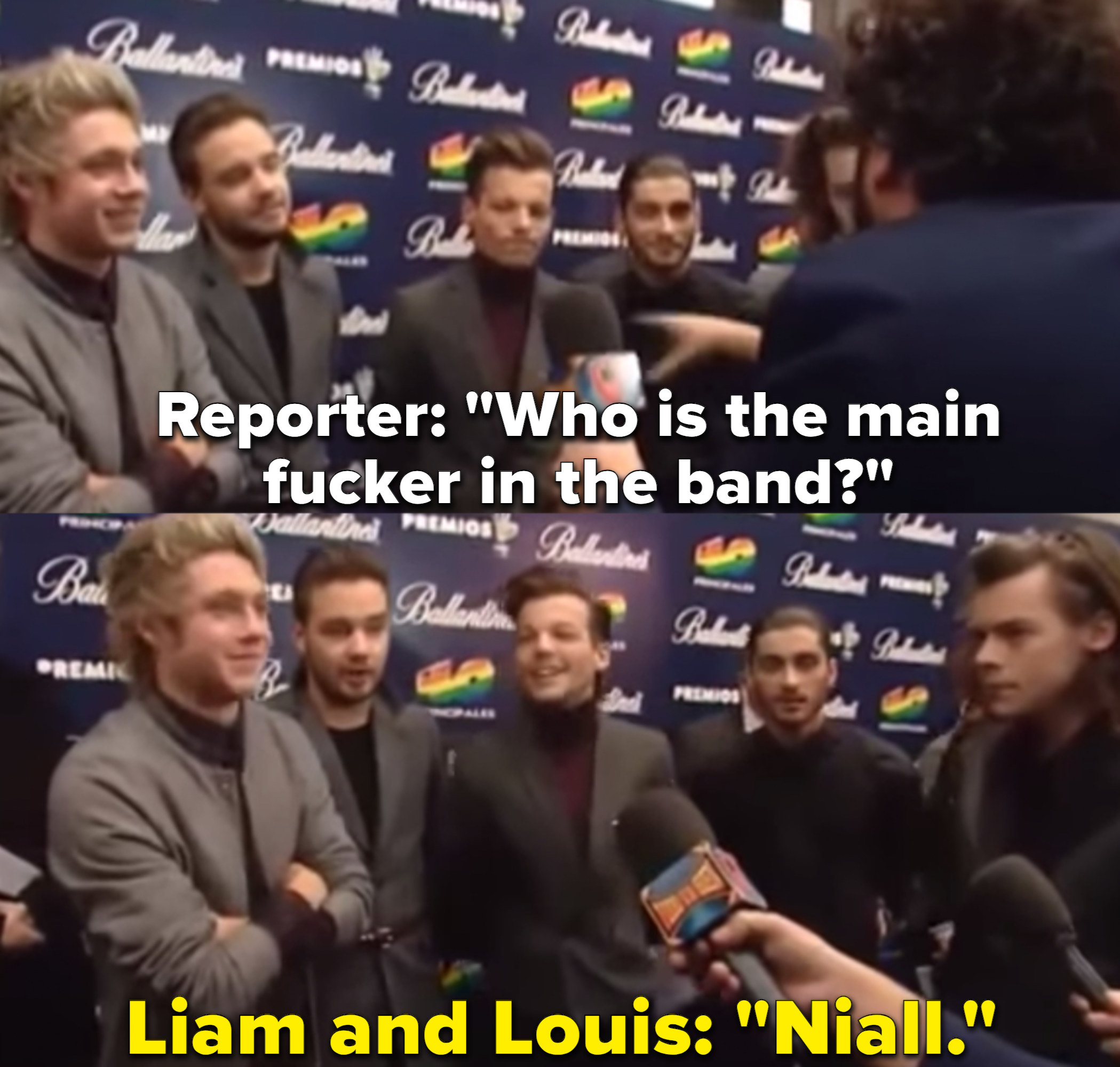 """The band One Direction is asked who """"the main fucker of the group is"""" while standing on a red carpet for an event."""