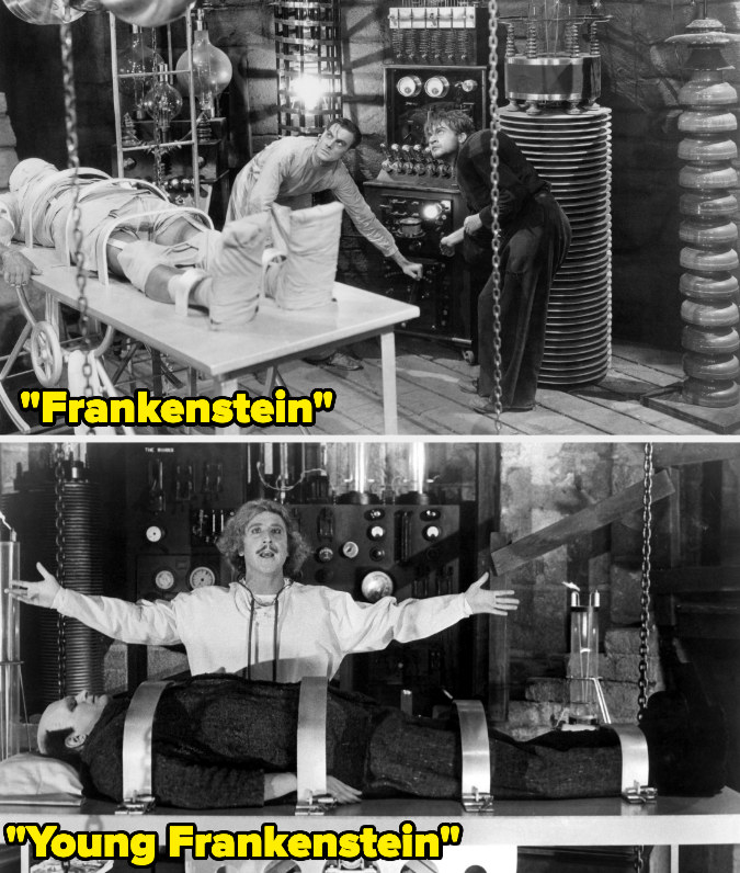 Dr. Frankenstein's lab table is the same in the 1931 film and the 1974 film