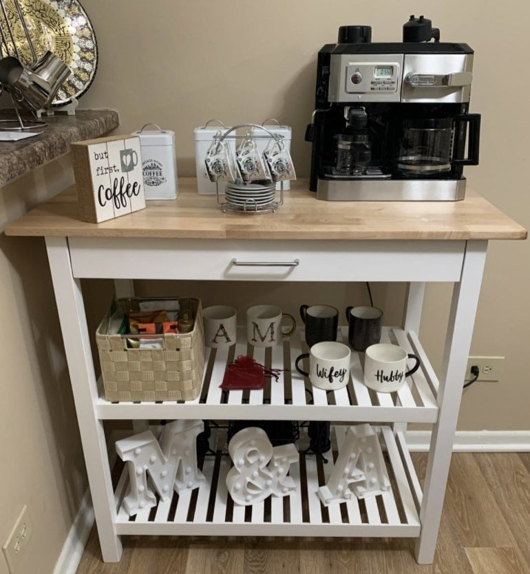 a reviewer showing the island as a coffee station