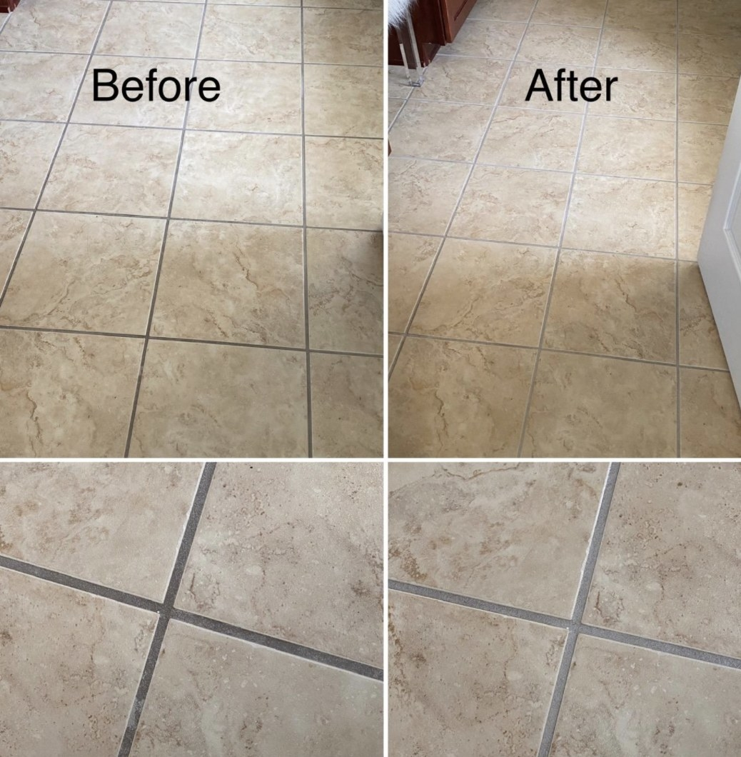 a before and after of what the brush did to a reviewers tile
