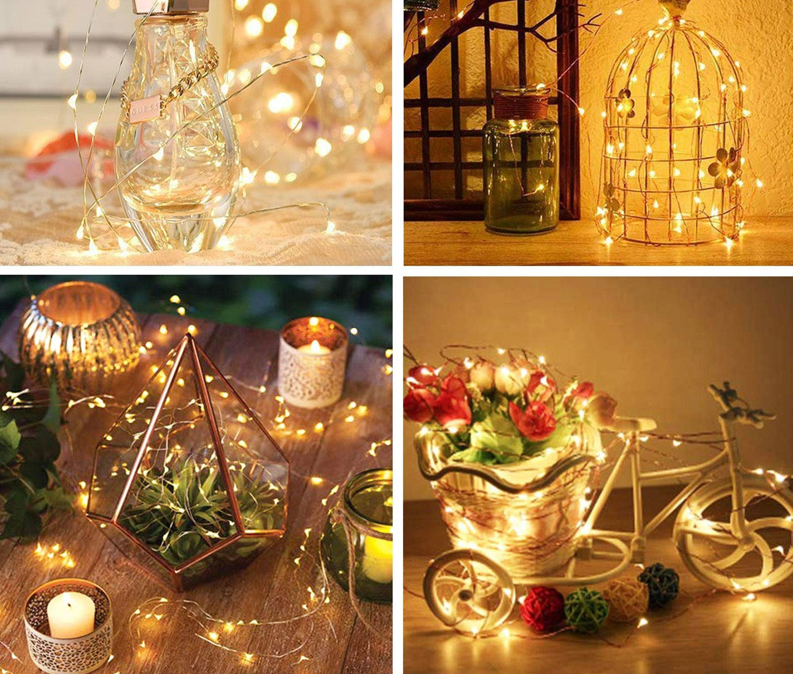 A vase, decorative bird cage, succulent terrarium, and decorate bike decor wrapped in the LED lights
