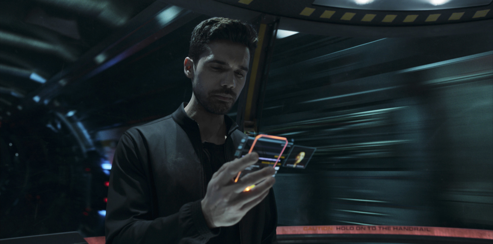 actor Steven Strait as James Holden in a still from the series the expanse