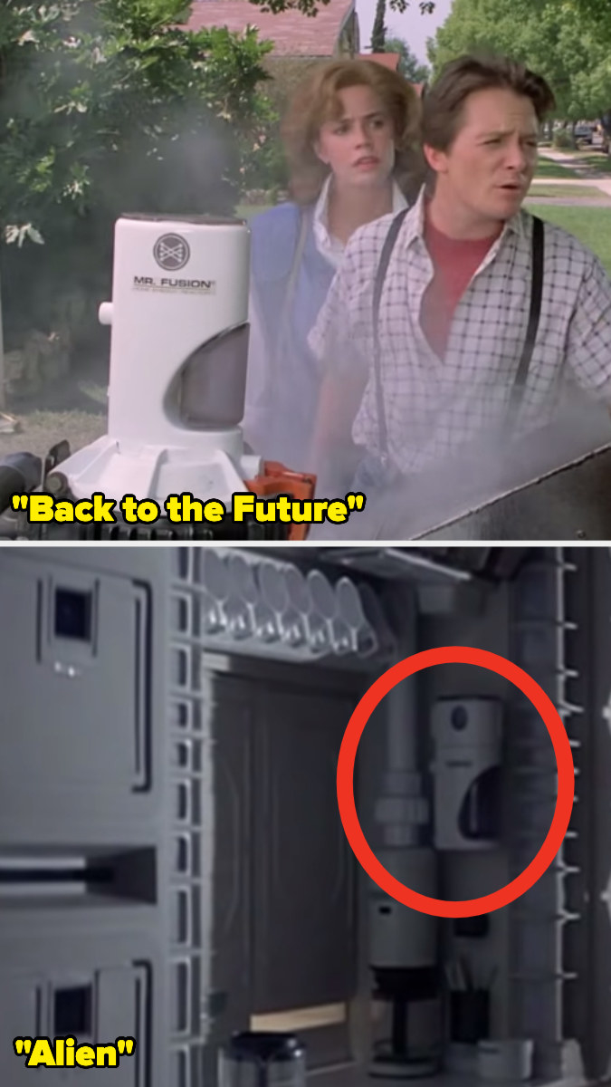 """A bright plastic container spilling over with smoke in """"Back to the Future Part II"""" and the same container attached to the wall of a space ship in """"Alien"""""""