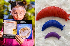 to the left: a child reading a book about geodes, to the right: slug-shaped fidget toys