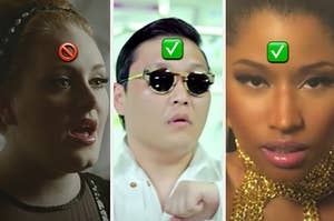 Adele is on the left labeled with a skip emoji with YG and Nicki Minaj labeled with a check emoji