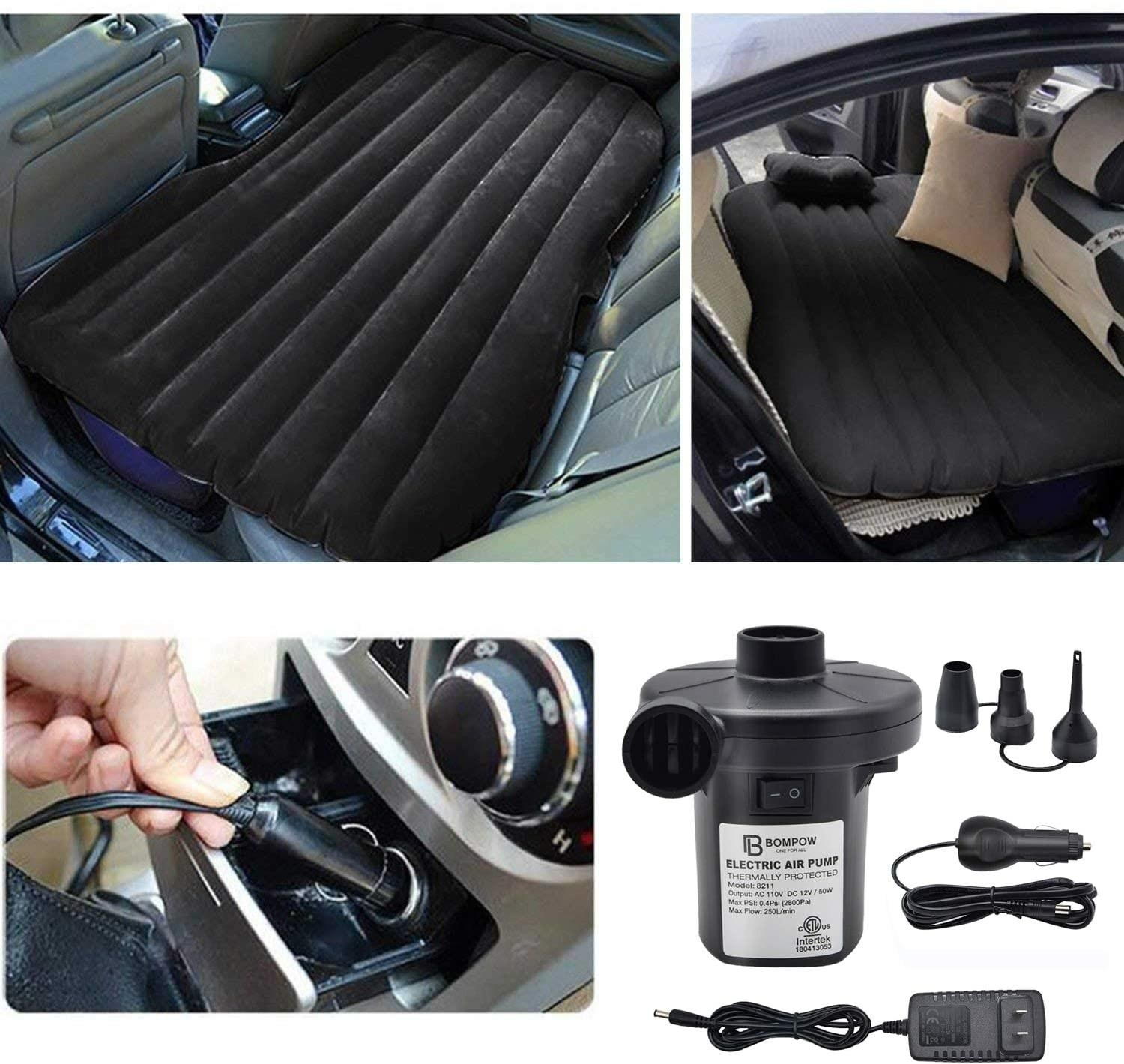 the pump and its attachments and car and regular plugs, and an air mattress inflated in the back of a car