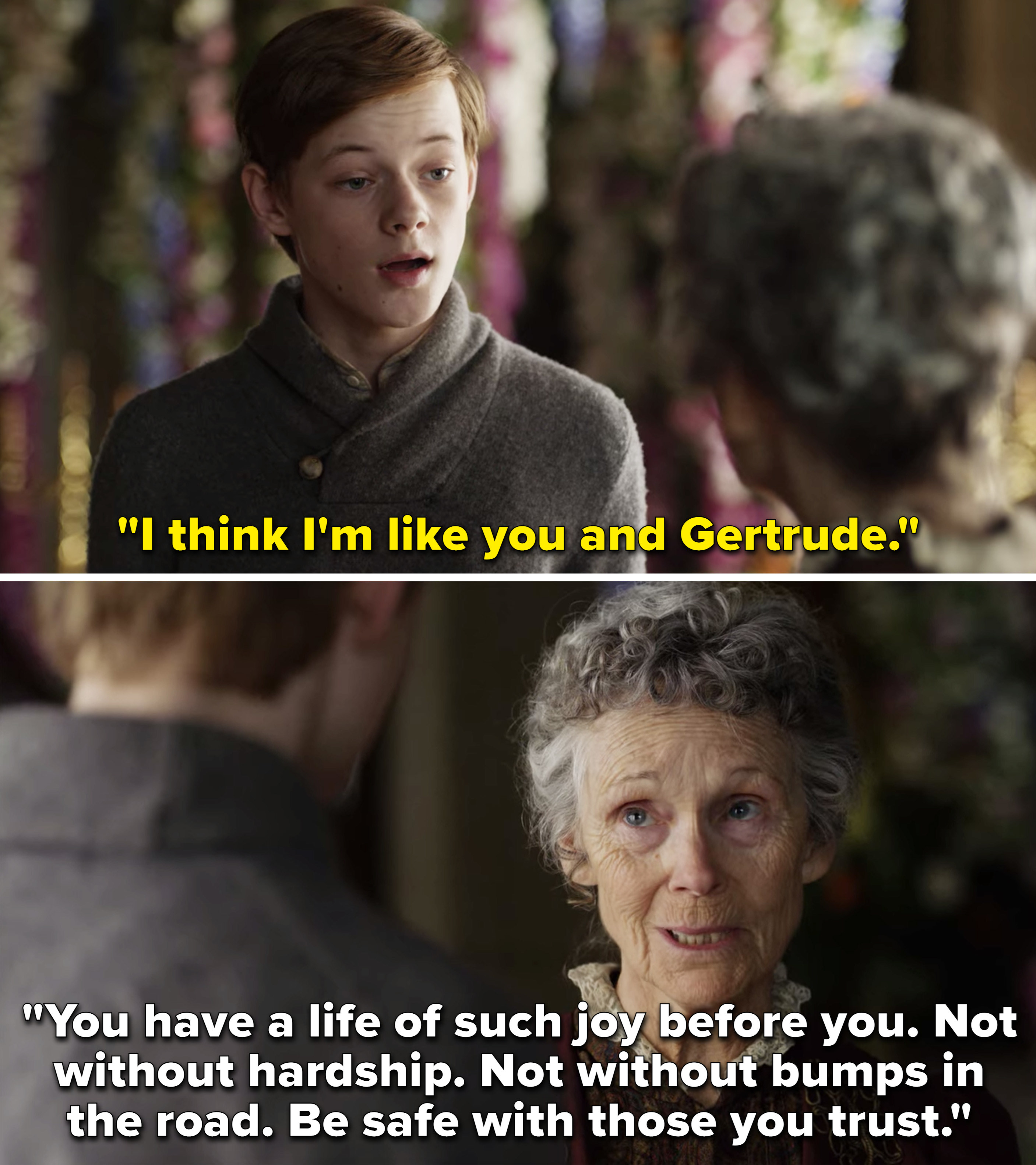 """Cole saying, """"I think I'm like you and Gertrude,"""" and Aunt Jo saying, """"You have a life of such joy before you"""""""