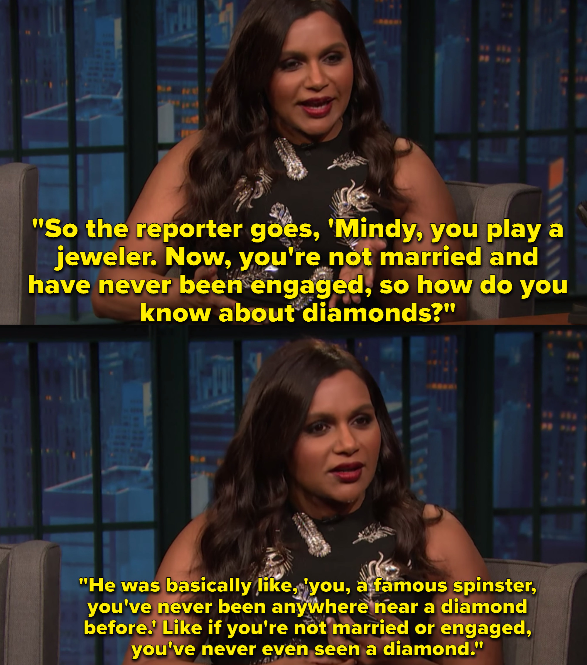 Mindy Kaling, wearing a black dress with silver feathers on it, recounts an encounter with a sexist reporter during a press conference.