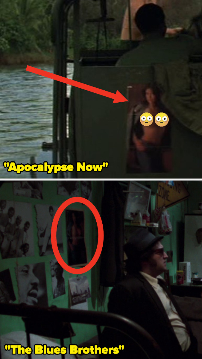 """A Playboy poster hanging on the wall of a boat in """"Apocalypse Now"""" and the same poster hung up in """"The Blues Brothers"""" apartment"""