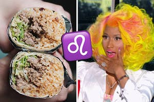 On the left, someone holding two halves of a beef burrito, then a Leo symbol emoji, and on the right, Nicki Minaj opening her mouth wide in shock