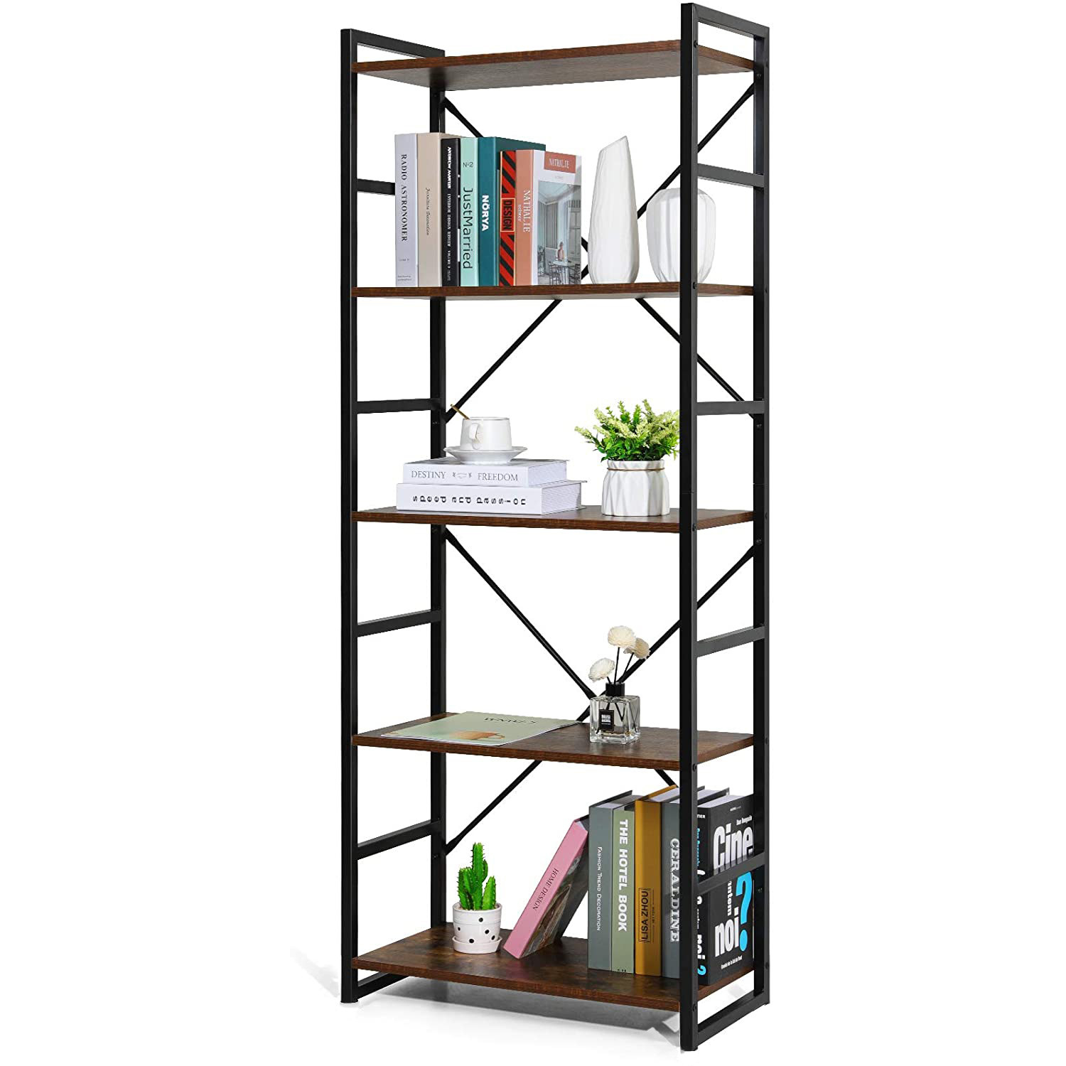 the open bookcase with five shelves