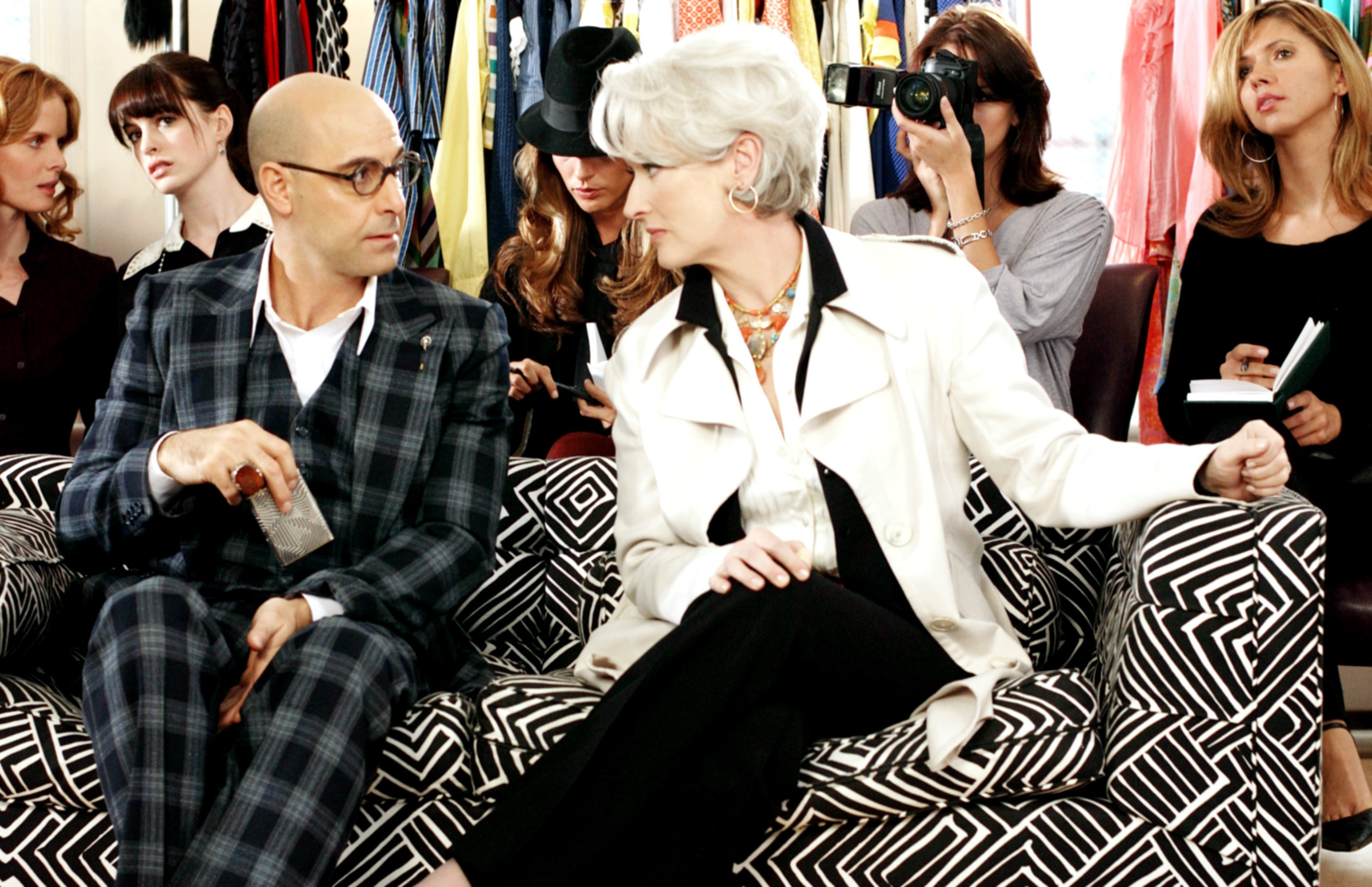 Stanley Tucci and Meryl Streep talk at a fashion event