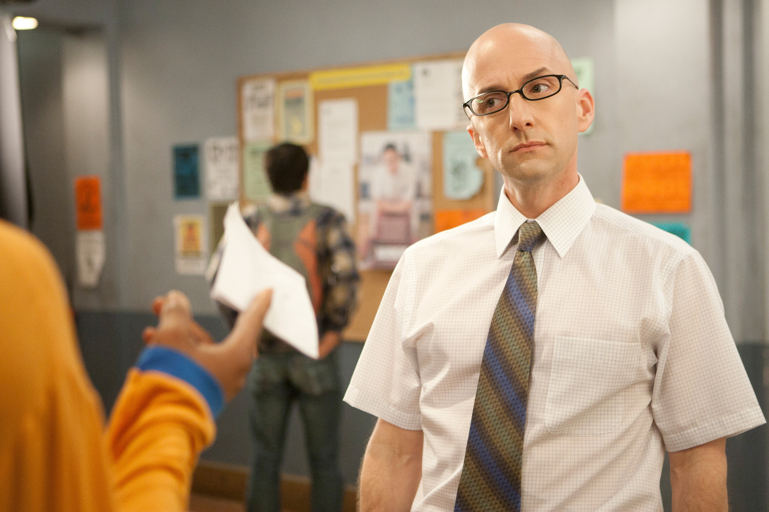 Jim Rash looks at a student inquisitively