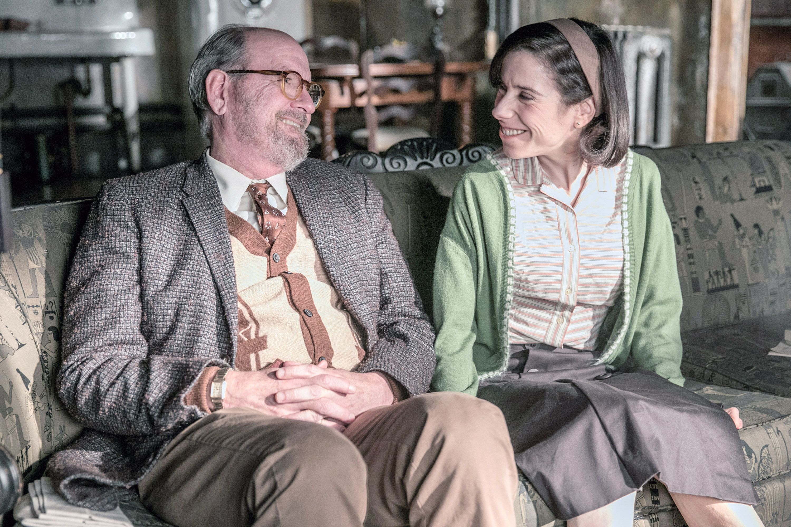 Richard Jenkins and Sally Hawkins sit on a couch