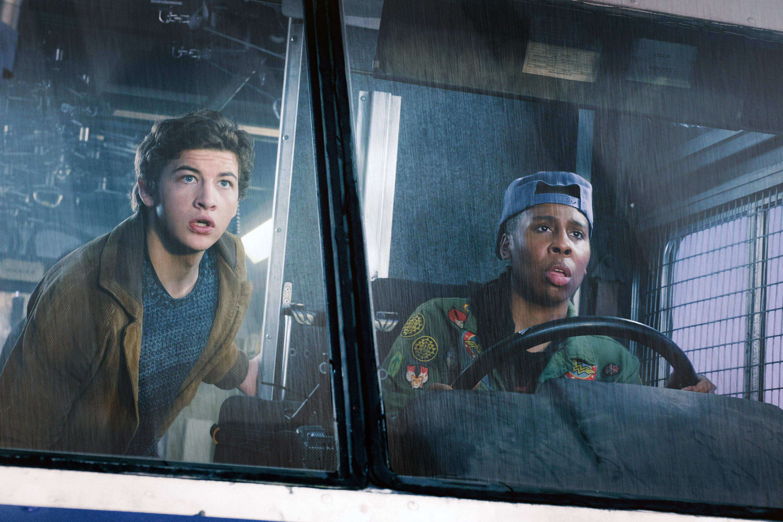 Lena Waithe drives a truck with Tye Sheridan inside