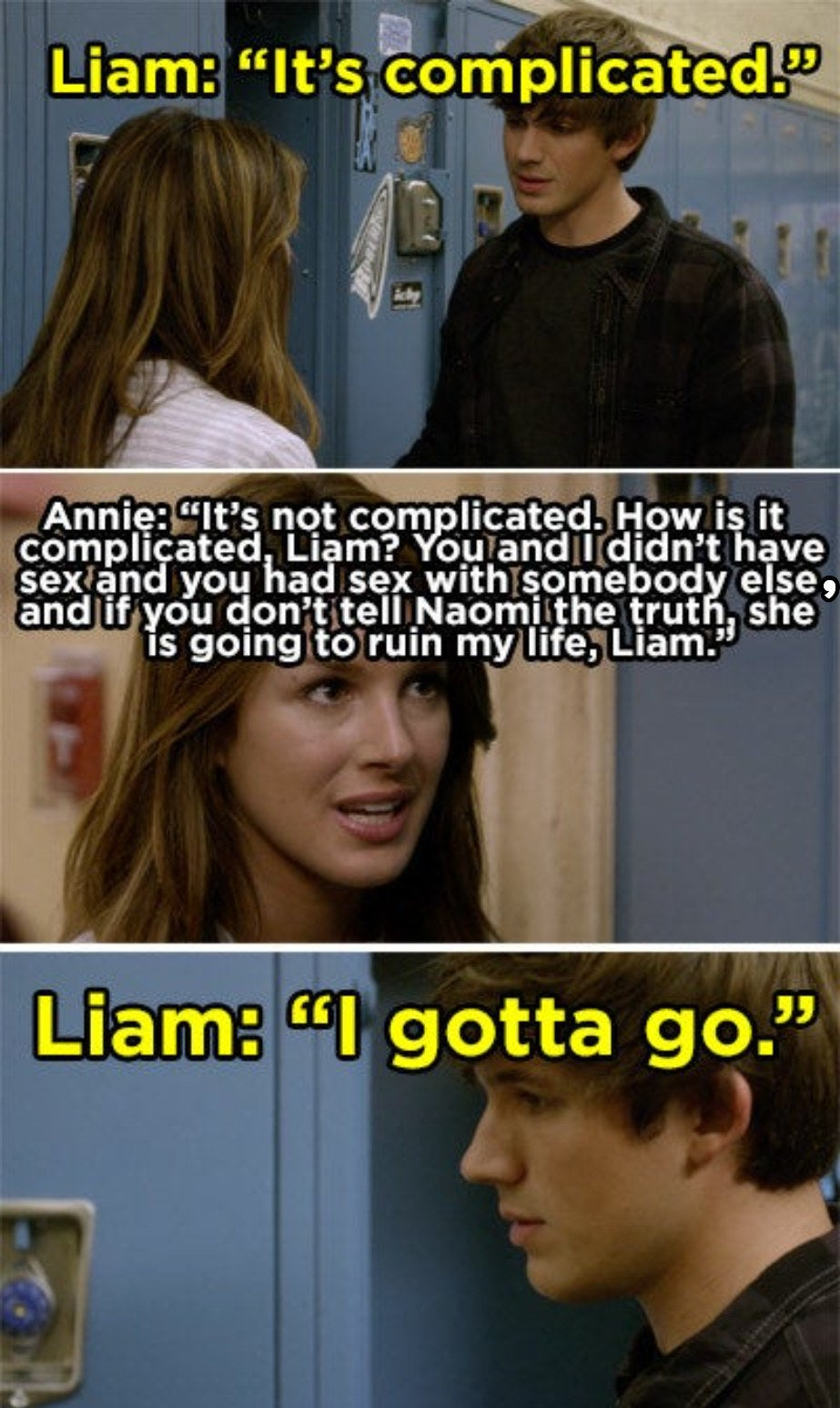 Annie begging Liam to tell Naomi the truth