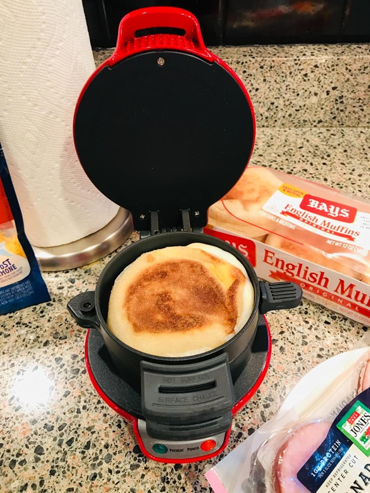 The small sandwich maker in red