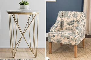 The side table and the armchair