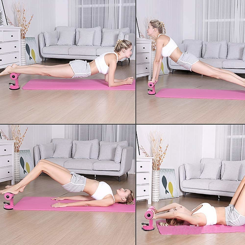 A woman doing various exercises using the workout assistant which is a handle-like device with suction cups to keep it in place.