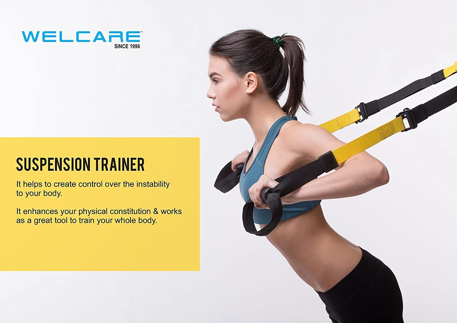 A woman hinging forward with the suspension trainer on her arms