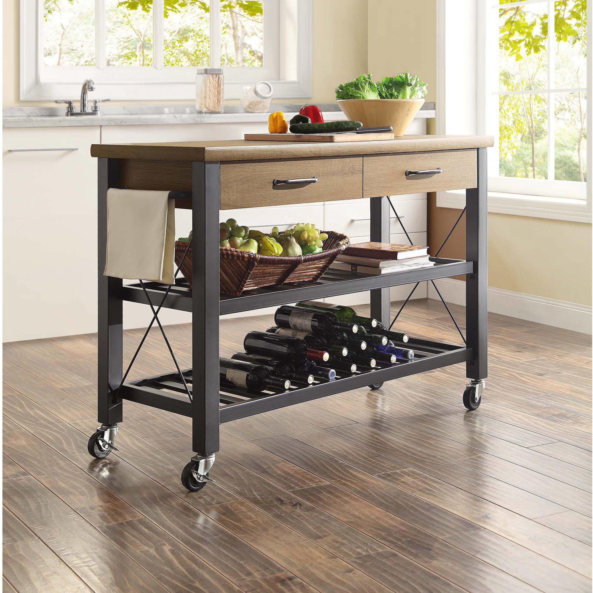 kitchen island cart with caster wheels, wooden top, and 2 drawers