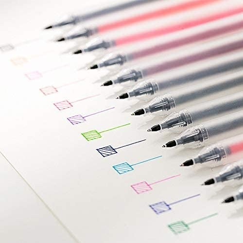A row of pens with examples of each ink written on piece of paper