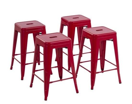 red metal barstools