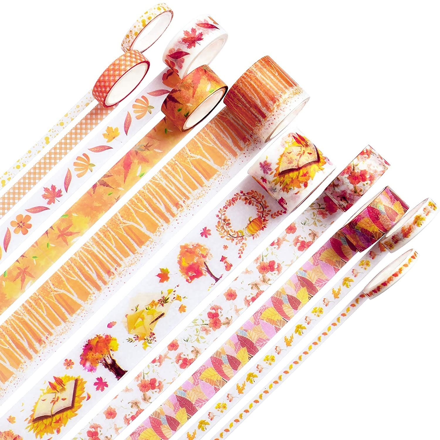 Washi tapes with orange, red, pink, and yellow floral designs