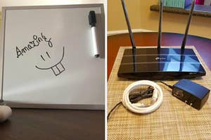 """a white board with a smiley face drawn on it and the word """"amazing"""" and a WiFi router with its attachments."""