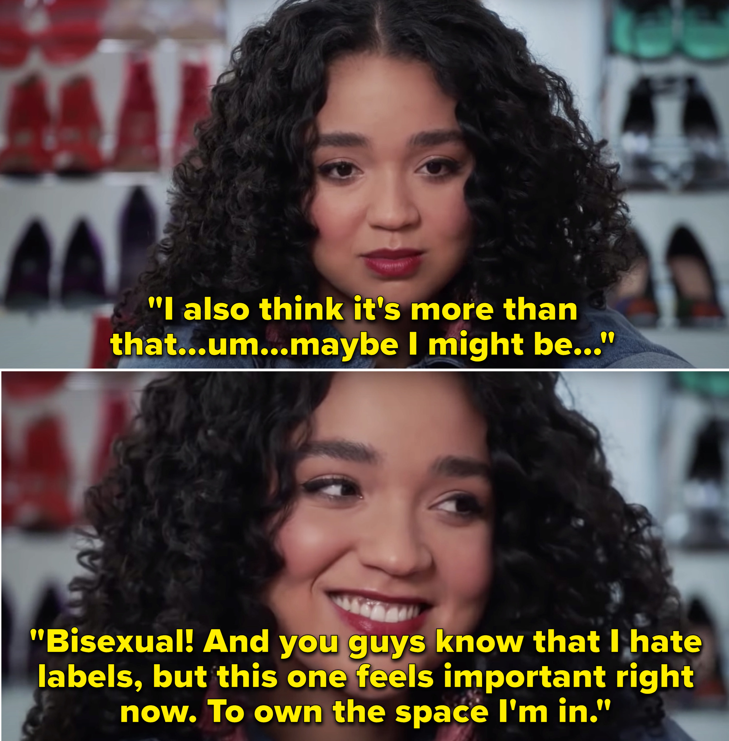 """Kat saying, """"Maybe I might be bisexual. And you guys know that I hate labels, but this one feels important right now"""""""