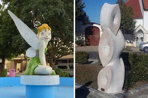 A badly executed Tinker Bell statue, and a statue that looks like buttholes
