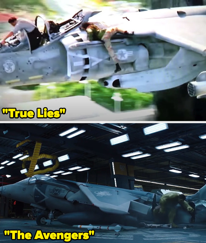 Arnold Schwarzenegger hanging out of a flying jet and The Hulk crashing into the same jet, but renovated