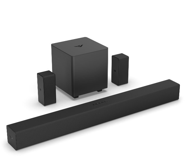 The soundbar, subwoofer, and surround speakers