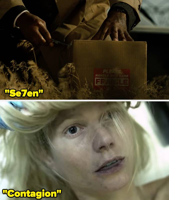 """15 Props Used In More Than One Movie 'Gwyneth Paltrow's severed head' was given to Brad Pitt's character in the iconic """"what's in the box?!"""" scene. The prop was constructed for Se7en. However, years later, it was used again in Steven Soderbergh's Contagion.15 Props Used In More Than One Movie"""